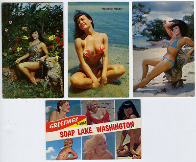 Vintage 1950s Lot of 4 Bettie Page RPPC Real Photo Pin-Up Color Postcards