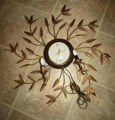 Vintage Electric Wall Clock With Metal Gold Color Leaves AND CANDELABRAS Works