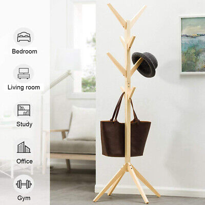 Wooden Coat Rack Clothes Stand Hanger Hat Tree Vintage Jacket Bag Umbrella AU M