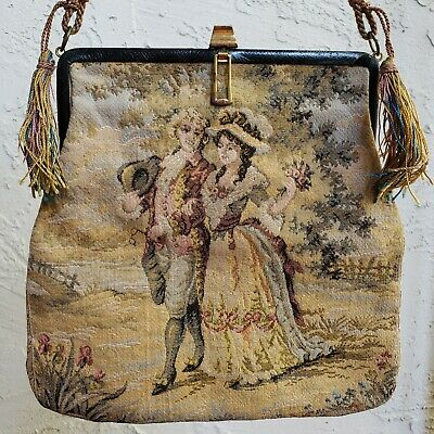 Antique Aubusson Style Tapestry Purse Gold Tone & Leather Frame