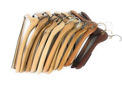 VINTAGE Assorted Lot of 12 Wooden Hangers Clothes, Coat and Suit Hangers Set
