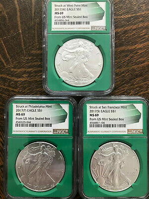 2017 P W S $1 Silver American Eagles NGC MS 69 From Sealed Monster Boxes 3 Coin