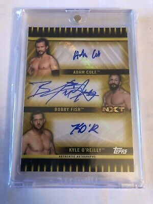 2018 Topps WWE NXT Undisputed Era Triple Auto GOLD /10 Adam Cole Fish O'Reilly