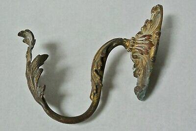 Antique Single Brass Curtain Tie Back Hook French Rococo Baroque Gilt Leaf