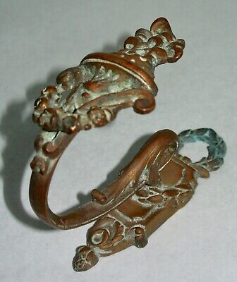 Antique Single Brass Bronze Curtain Tie Back Hook French Empire Urn Wreath