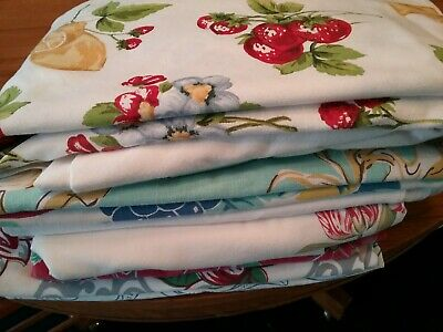 Lot of 9 Vintage Tablecloths Floral Fruit Souvenir Roses