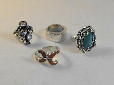 Southwestern Sterling Silver Ring Lot Turquoise Abalone Coral Tribal Old Pawn NR