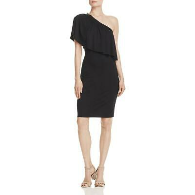 Three Dots Womens Black Ruffled One Shoulder Party Cocktail Dress S BHFO 9022