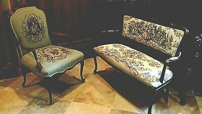 Set Of 2  Antique 1920 Upholstered Armchair And Settee Depicts Of Court Scene