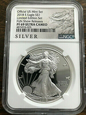 2018 S $1 Silver American Eagle Proof NGC PF 69 Fun Show Limited Edition Set