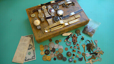 Antique Junk Drawer Lot US Currency Military / Dive Watches Estate Coins Silver