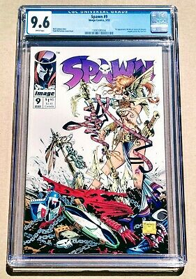SPAWN #9 CGC 9.6 NM Key 1st Appearance of Angela! Thor's Sister! White Pages!