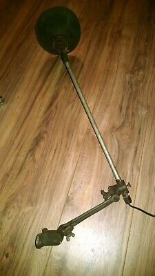 Antique OC White industrial articulating mounting lamp with rare shade