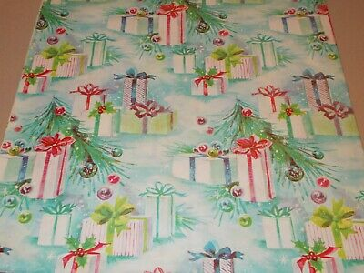 Vtg Christmas Wrapping Paper Gift Wrap 1950 Pretty Presents Ornaments Nos
