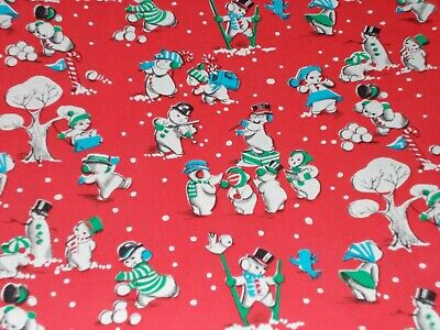 Vtg Christmas Wrapping Paper Gift Wrap 1950Snowmen Playing Singing Cute Nos