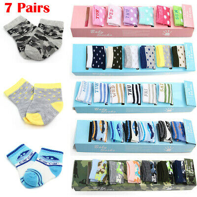 CUTE 7 Pairs Newborn Baby Boy Girl Cotton Sock Soft Breathable Ankle Sock 0-6M