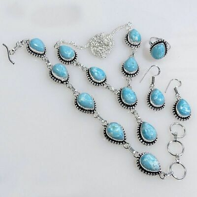 Stunning Larimar .925 Silver Plated Handmade Necklace Set Jewelry P27