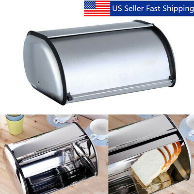 Stainless Steel Bread Box Storage Bin Keeper Food Kitchen Container
