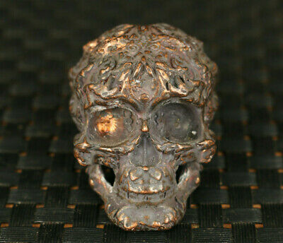 cool old bronze hand carved skull head statue collectable Halloween decorate