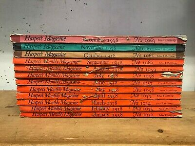 Harpers Magazine: Complete 12 Issue Set: Jan-Dec 1938