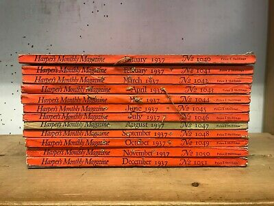 Harpers Magazine: Complete 12 Issue Set: Jan-Dec 1937