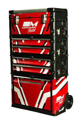Motamec Racing RED Modular Tool Box Trolley Mobile Cart Stack Cabinet Chest C41H