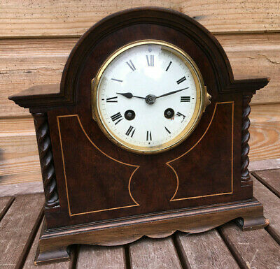 Antique Edwardian FRENCH Arch & Barley Twist Mahogany Mantle Shelf Clock 1910