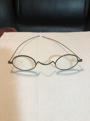 Antique Late 1800s Early 1900s Small Oval Wire Frame Eye Glasses