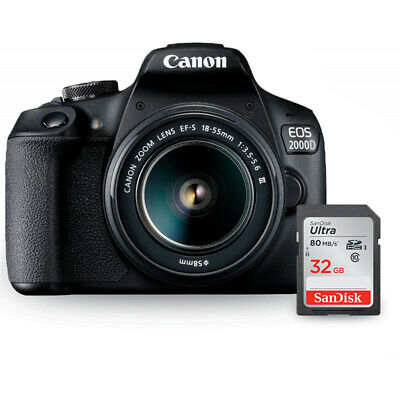 Canon EOS 2000D / Rebel T7 with EF-S 18-55mm III Lens + Sandisk Ultra 32GB SD