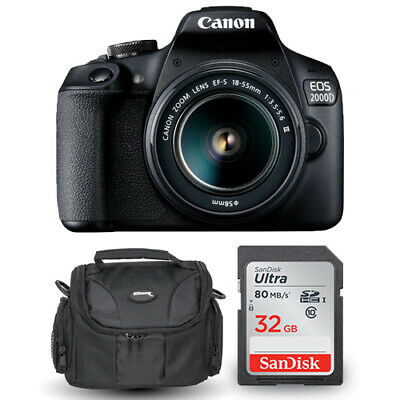 Canon EOS 2000D / Rebel T7 with EF-S 18-55mm III Lens + Sandisk 32GB and Case