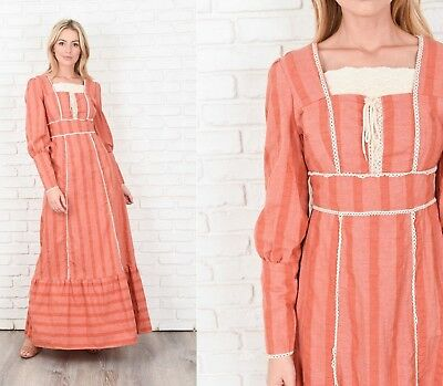 Vintage 70s Boho Dress Maxi Crochet Scalloped Lace Neckline Prairie Stripes M