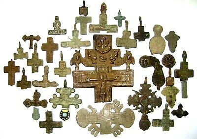 Ancient lot of 32 bronze damaged pectoral Believer crosses / parts Middle Ages.
