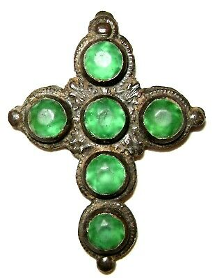 Ancient Rare Medieval bronze pectoral cross with six green stones.