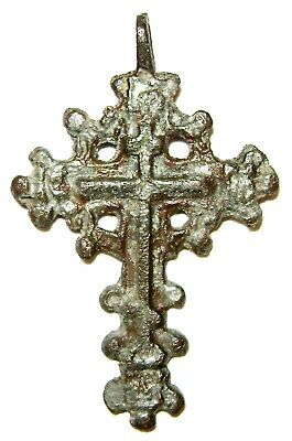 "Ancient Rare Medieval bronze pectoral Believer cross  ""Apple Spas"" ."