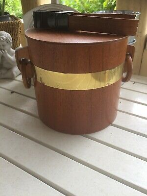 Vintage Retro Wooden Ice Bucket With Tongs