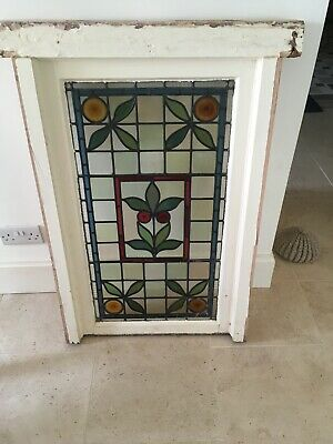 Antique 19th Century Stained Glass Panel Victorian Church Window