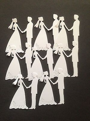 8 White Bride and Groom Diecuts  - great for Cardmaking/Scrapbooking