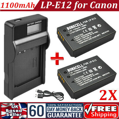 2x 1100mAh LP-E12 Battery + LCD USB Charger for Canon EOS M2 M10 M50 M100 100D