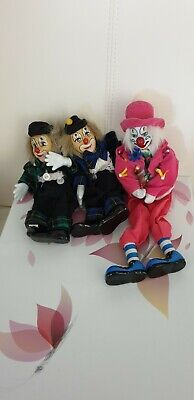 3 Porcelain Clowns, excellent condition