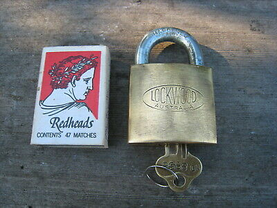 Old Vintage Brass Lockwood Padlock With 1 Key