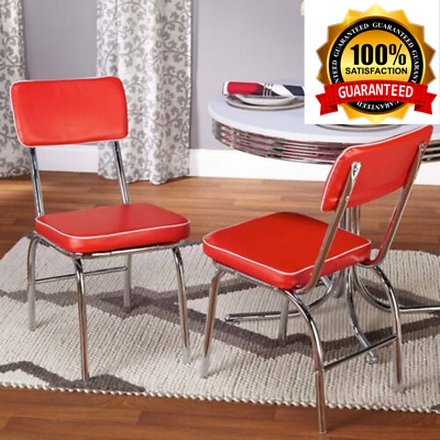 RETRO DINER CHAIRS Chrome Dining Kitchen Chairs Vintage Look ...