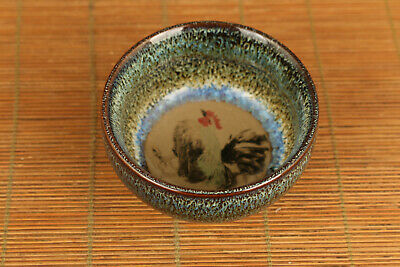 rare chinese porcelain painting cock cup bowl home deco