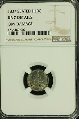 Liberty Seated Silver Half Dime.1837 NGC Unc Details. Toned. Lot # 4736469-002