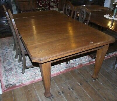 Antique oak extending dining TABLE 120 - 176cms wind out Seats 8