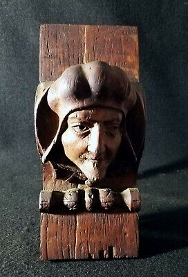 Antique Oak Architectural Carved Head Gothic Style