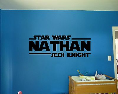 Star Wars Jedi Personalized Name Custom Decal Wall Sticker Mural Graphic J235