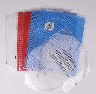 Darice 8 Piece Plastic Canvas Lot Circle Rectangle Red White Blue 33027, 33900