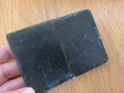 Small Antique 19th century Victorian black leather visiting card case.