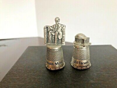 Lincoln and Jefferson Memorial Pewter Vintage -  Collectible Thimble  Fort 1979