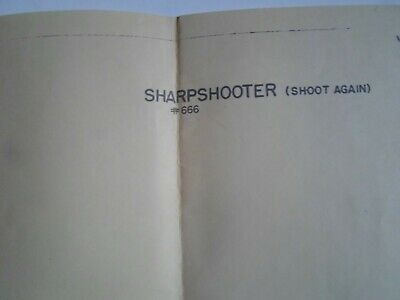 Sharp Shooter Schematic And Manual Original By Chicago Coin  Arcade Game